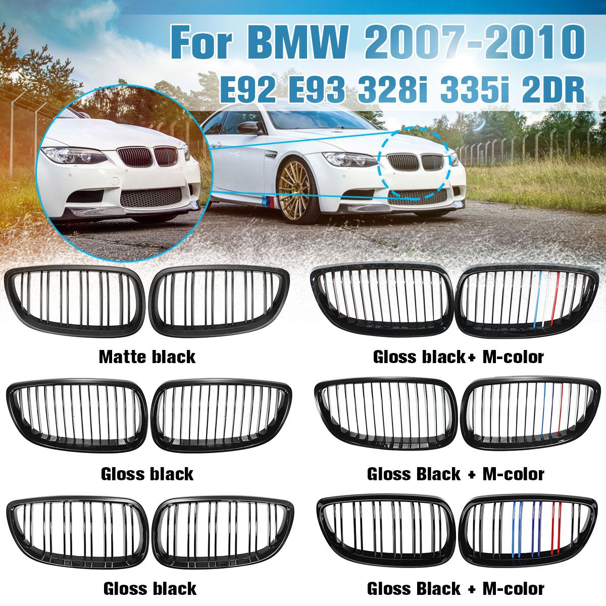 Front Grille Kidney Grill For BMW E92 E93 M3 328i 335i 2Door 2007 2008 2009 2010 Car Styling Gloss Matte Black M-color Dual Line