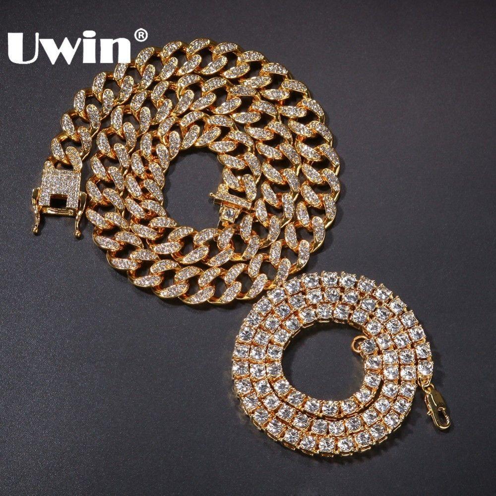 UWIN 2 colliers mode Hiphop bijoux 13mm chaîne à maillons cubains avec 5mm glacé strass chaînes de Tennis couleur or collier