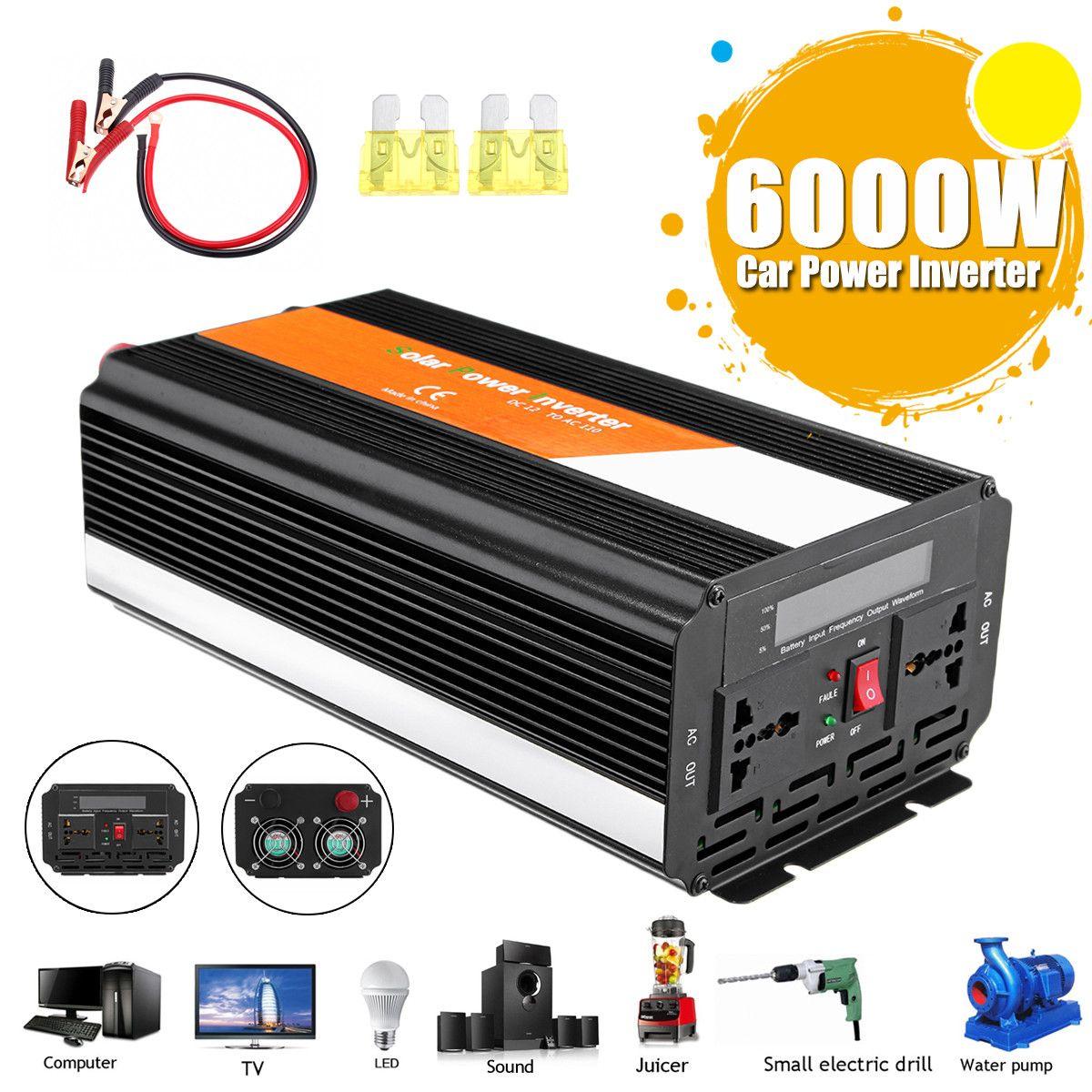 Voltage Transformer PEAK 6000W Car Inverter 12/24V To 220/110V Modified Sine Wave Converter Fuse High Efficiency Automotive