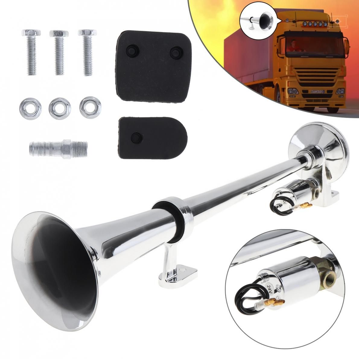 17Inch Chrome Plated ZINC Universal 150dB Super Loud Single Trumpet Car Air Operated Horn for Automobiles Truck Boat Train