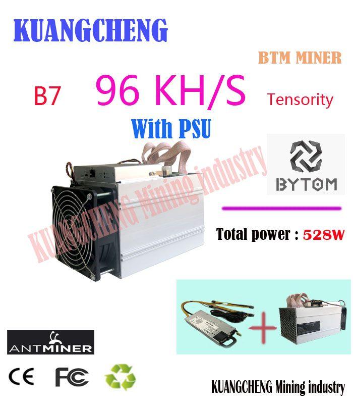 Neue BTM Miner Antminer B7 96KH/s 528 W Mit 750 W NETZTEIL Asic Tensority Miner Bergwerk BTM besser als Antminer S9 S11 S15 A9 Z9 A9 M10