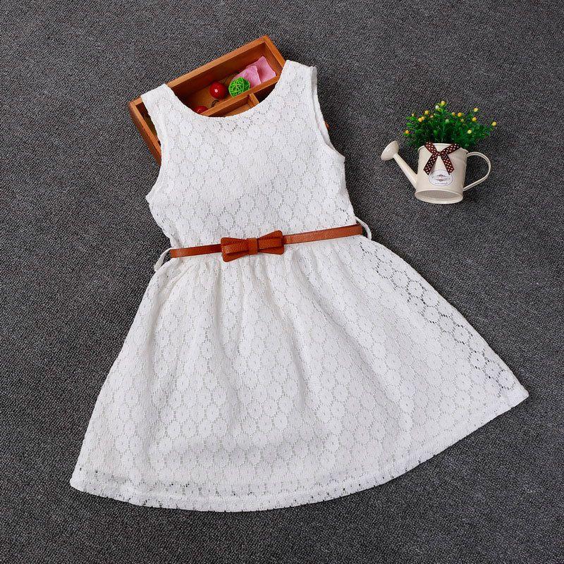 Berngi 2-8 ans été 100% coton dentelle gilet filles robe bébé fille cadeau robe enfants vêtements enfants fête vêtements ceinture gratuite