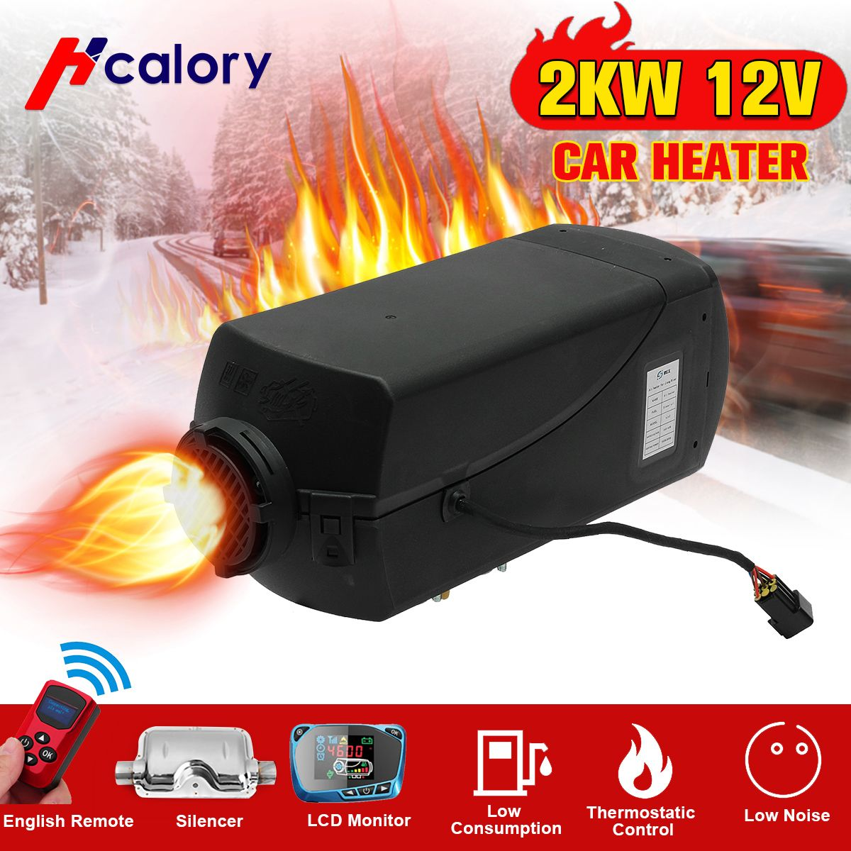 Auto Heizung 2KW 12 V Air Diesel Heizung Standheizung Mit Fernbedienung LCD Monitor Für RV, wohnmobil Anhänger, Lkw, Boote