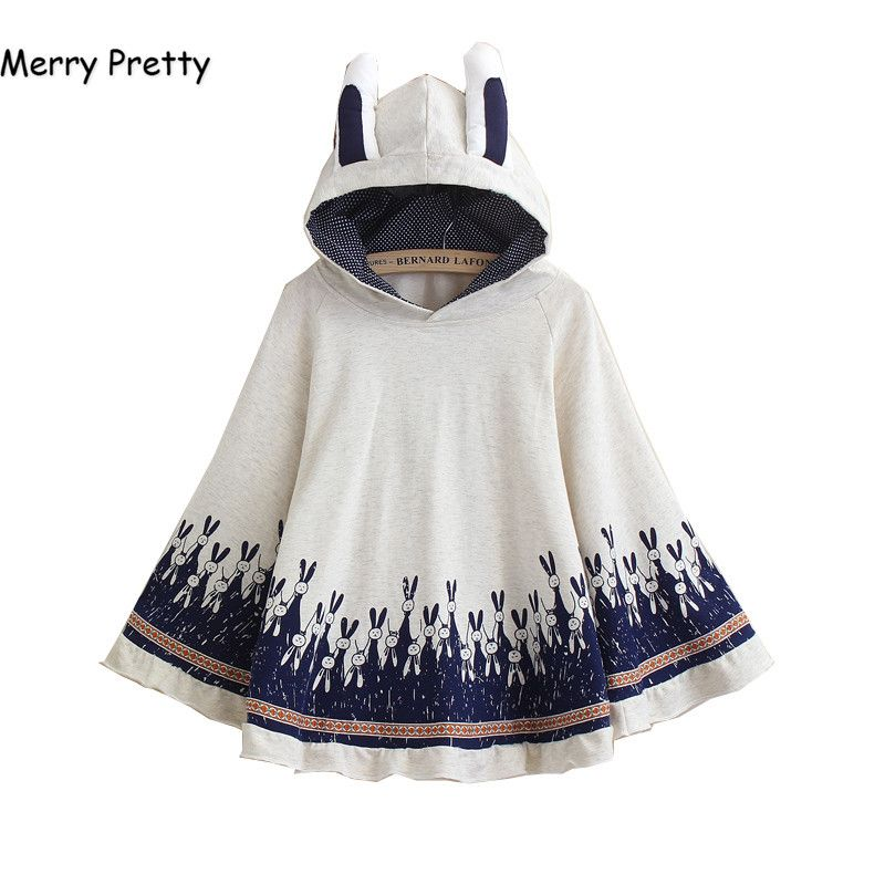 Merry Pretty Cloak outerwear women autumn rabbit print ear stereo hoodies coat cotton pullover poncho jacket cloak hooded coat