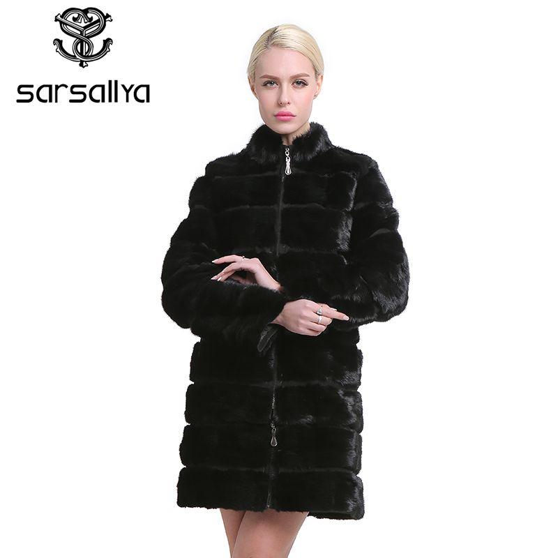 SARSALLYA Real Nerz Mantel für Frauen Natürliche Echte 38-58 plus größe Pelz Mäntel Luxus Schwarz Farbe Angepasst größe