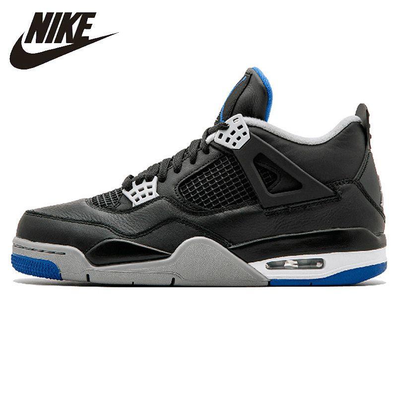NIKE AIR JORDAN 4 REINE GELD männer Basketball Schuhe Original AJ 4 Outdoor Schock-absorbieren Nicht-slip turnschuhe #308497-006