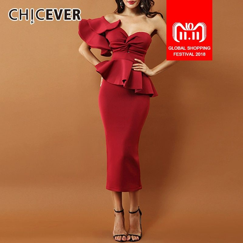 CHICEVER 2018 Summer Two Pieces Set Women Suit Sexy Off Shoulder Ruffles Slim Tops With Elastic Waist Midi Skirt Clothes Fashion