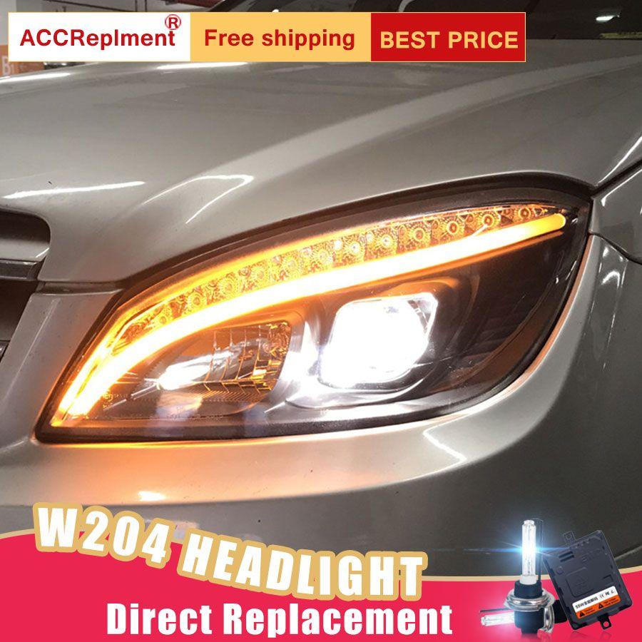 2Pcs LED Scheinwerfer Für Benz W204 2007-2011 led auto lichter Engel augen xenon HID KIT Nebel lichter LED Tagfahrlicht