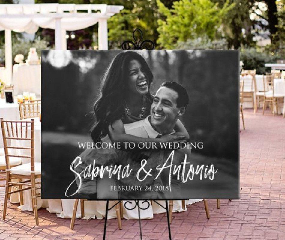 Bienvenue à notre signe de bienvenue de mariage nom personnalisé et Date de mariage décoration rustique invité entrée signe de bienvenue