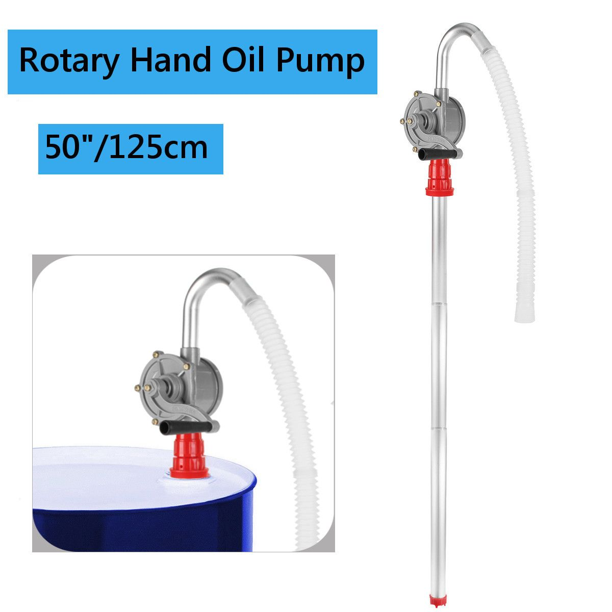 22L/M 125cm Self Priming Rotary Oil for Diesel Fuel Hand Pump Barrel Suction Transfer Tool