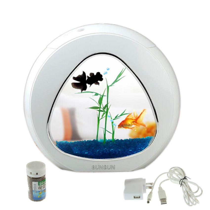 Mini aquarium fish tank aquarium fish bowl aquarium réservoir 110 v-220 v/USB LED éclairage vient aérobie l'intégration du système de filtration