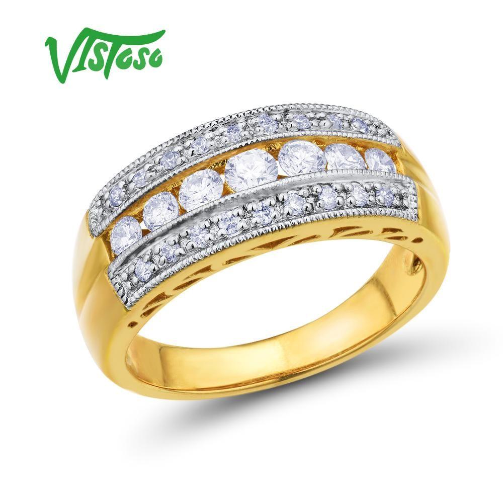 VISTOSO Gold Ringe Für Frauen Echte 14 K 585 Gelb Gold Ring Funkelnde Diamant Luxus Engagement Hochzeit Band Edlen Schmuck
