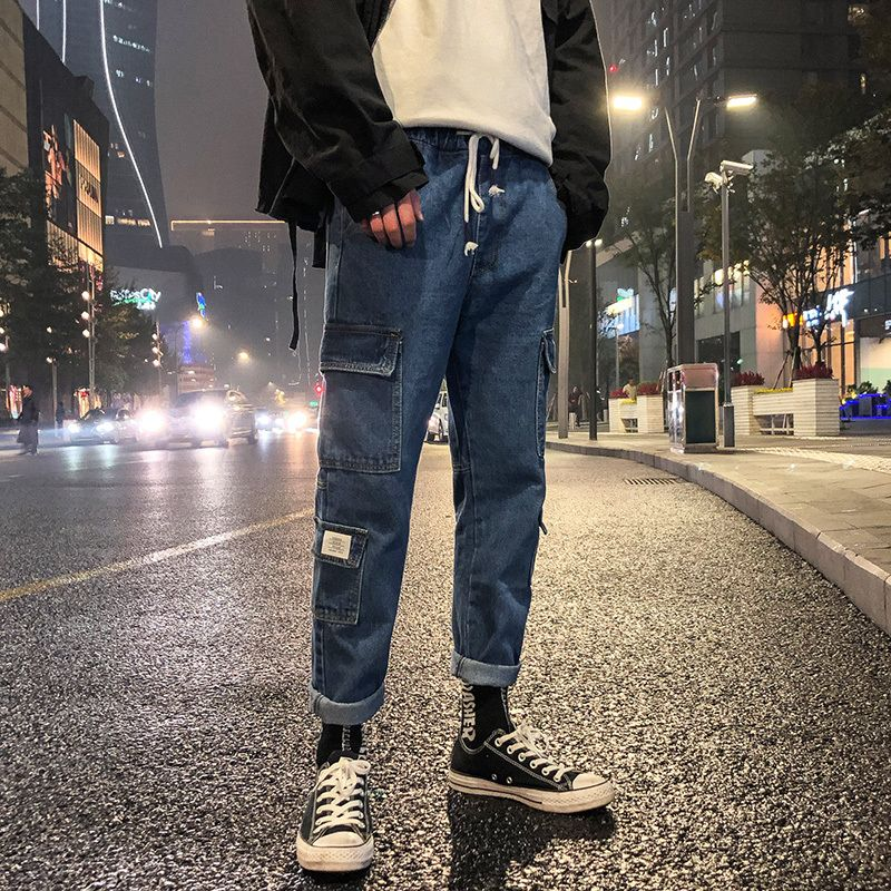 2018 Winter Men's Baggy Stretch Classic Thickening Casual Pants Cargo Pocket Loose Jeans Black/blue Color Biker Denim Trousers