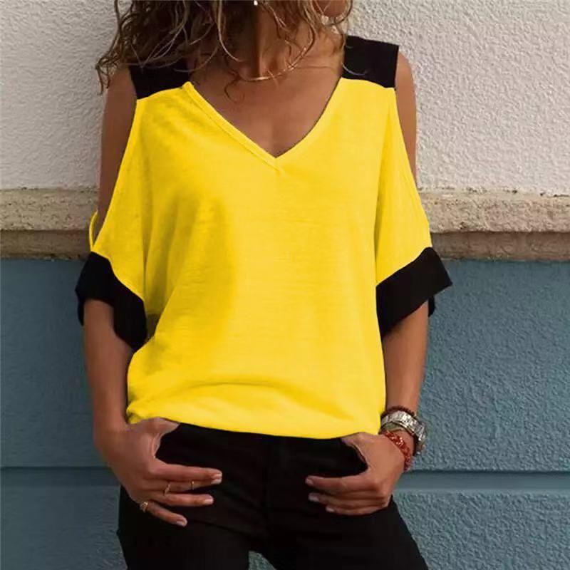 2019 femmes été Patchwork épaule froide T-shirts hauts t-shirt femmes col en v top T-shirts Feminina Camiseta Blusas SJ1734X