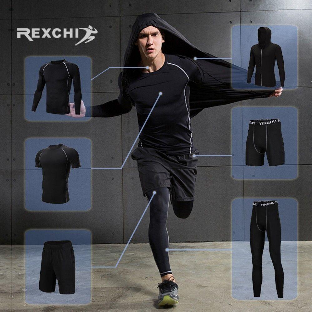 REXCHI 6 teile/satz Männer der Trainingsanzug Kompression Sport Anzug Gym Fitness Kleidung Laufen Jogging Sport Wear Training Workout Strumpfhosen