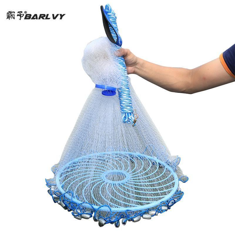 Verbesserte Amerikanischen Hand Cast Net mit Fliegen Disc Hohe Festigkeit Fly Fishing Network 300/360/420/480 /540/600/720 cm Werfen