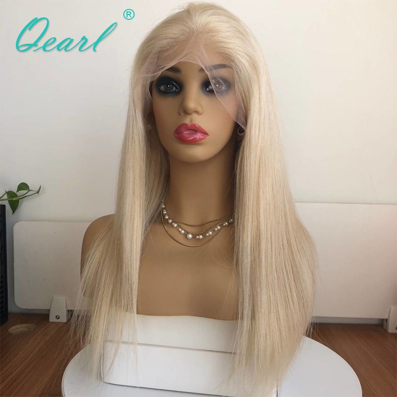150% Density Full Blonde Color Human Hair Full Lace Wigs Brazilian Remy Hair Straight Lace Wig Pre Plucked With Baby Hair Qearl
