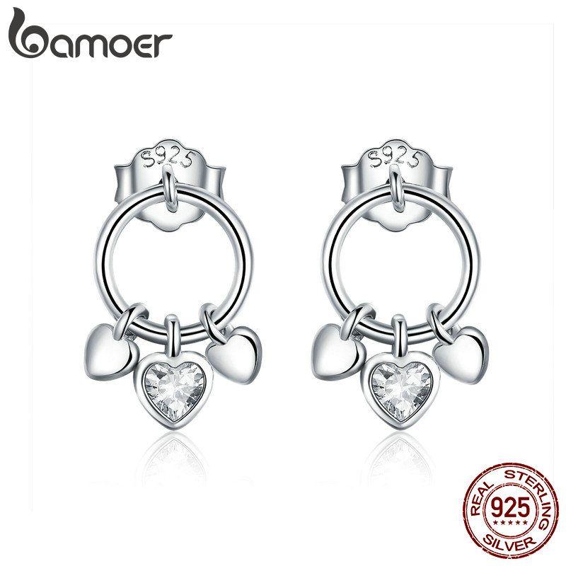 BAMOER Romantische Echtem 925 Sterling Silber Herz zu Herz Stud Ohrringe für Frauen Klar CZ Sterling Silber Schmuck Geschenk SCE494