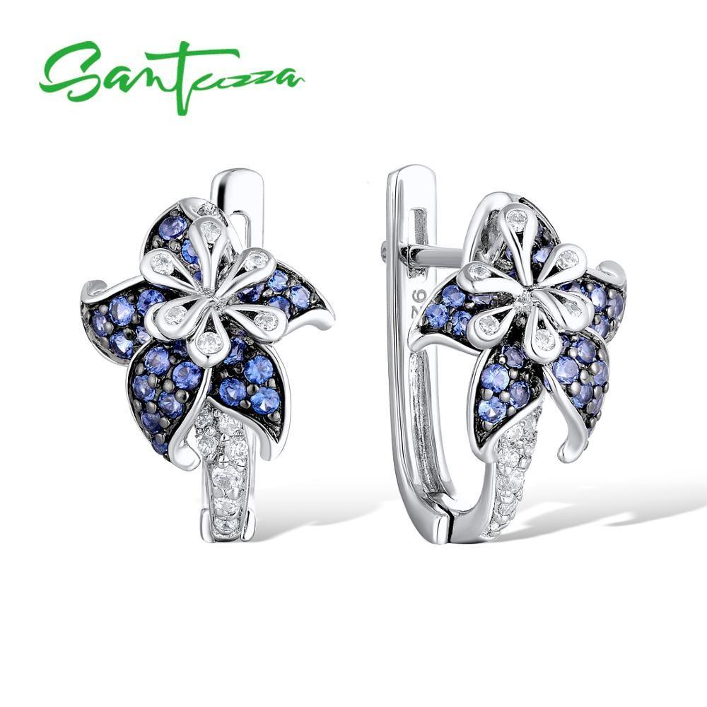 Boucles d'oreilles en argent SANTUZZA pour femme pur 925 argent Sterling bleu étoile fleur zircon cubique