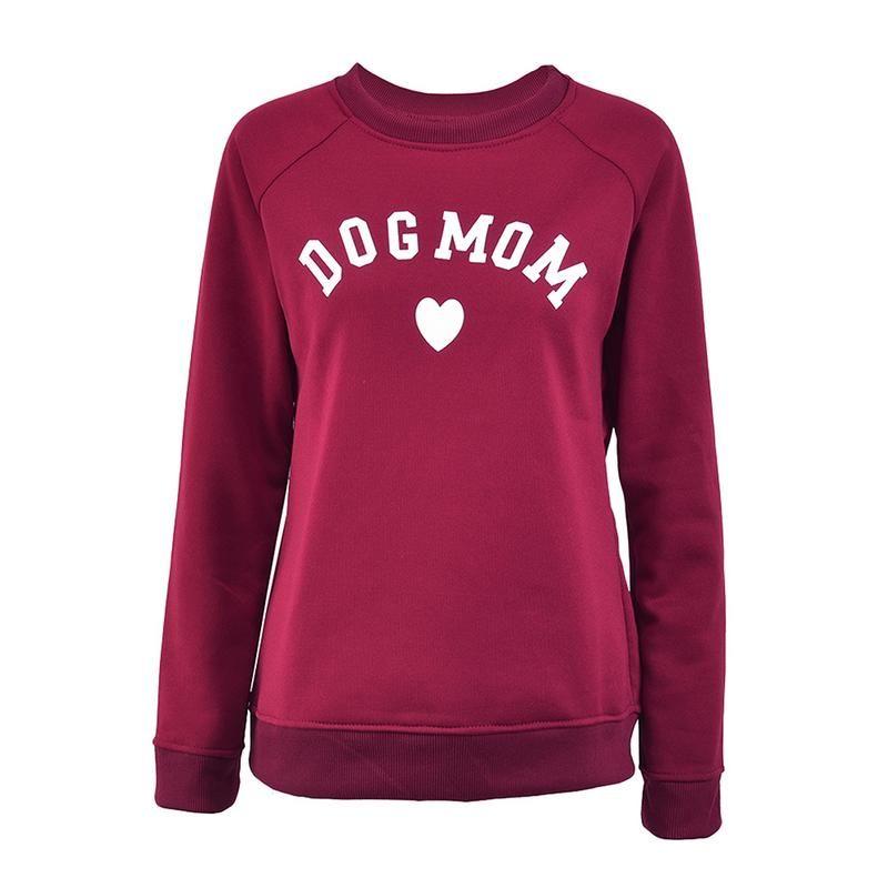 Maman de chien Femmes de Plus de Velours À La Mode À Manches Longues Casual Sweat Impression en forme de Coeur Imprimer Kawaii Sweat Vêtements