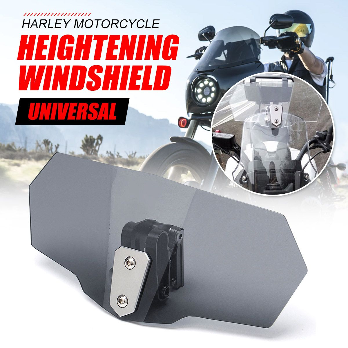 Unversal CNC Aluminum Motorcycle Adjustable Clip windshield Extension Spoiler Windscreen Screen Deflector Spoiler wind deflector