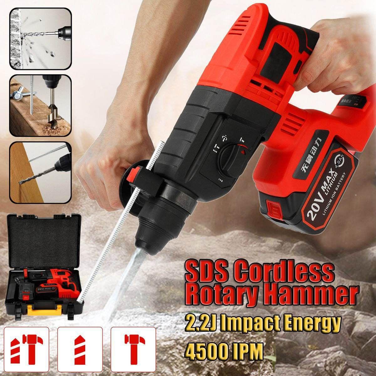 Wiederaufladbare Multi-funktion Elektrische Cordless Hammer 4AH 20 V Auswirkungen Bohrmaschine Schraubendreher SDS Power Tool 1/2 Li- batterie