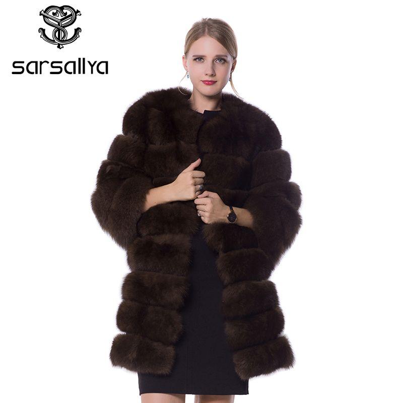 SARSALLYA echtpelz fuchs pelz mantel design damen winter wirklich fuchs pelz mantel abnehmbaren echten pelz mantel wome