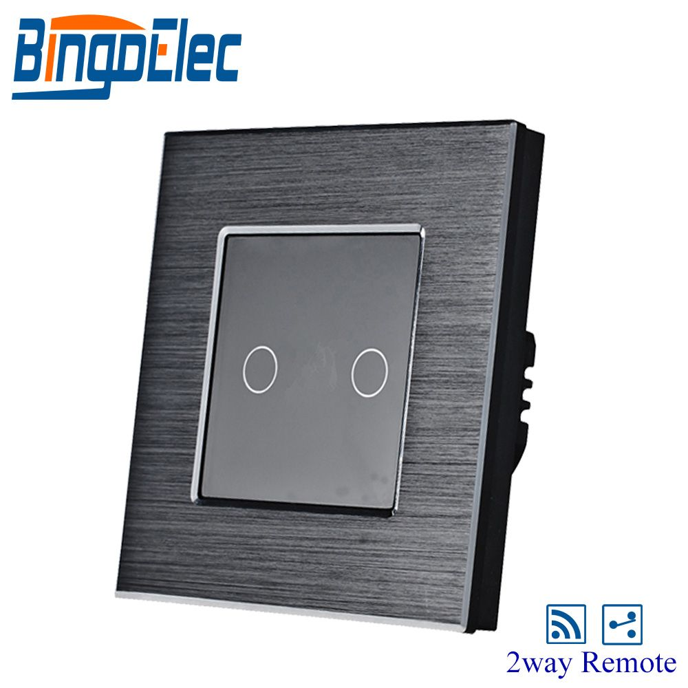 EU/UK Type 2gang 1way Remote Touch Screen Switch Black Aluminum Franme Black Glass Pannel Wall Light Switch 433.92MHZ 86*86cm