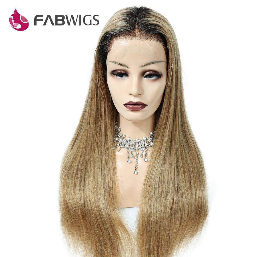 Fabwigs150 % Dichte Ombre 1b/27 Honig Blonde Volle Spitze Menschliches Haar Perücken Pre Gezupft Brasilianische Remy Menschliches Haar perücken mit Baby Haar