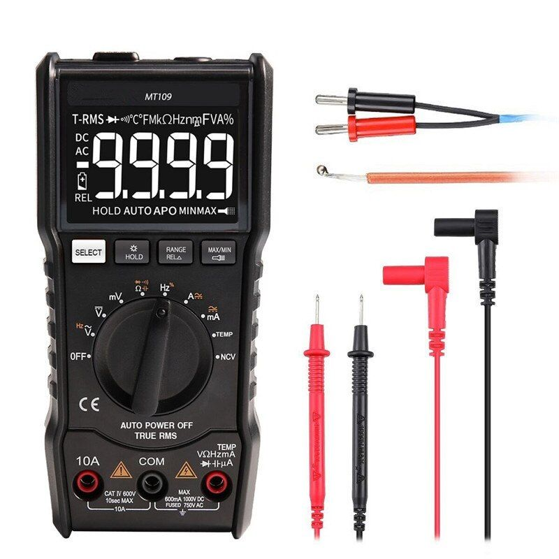 MUSTOOL MT109 Portable 9999 Counts True RMS Multimeter AC DC Voltage Current NCV Temperature Tester MT109 Multimeter