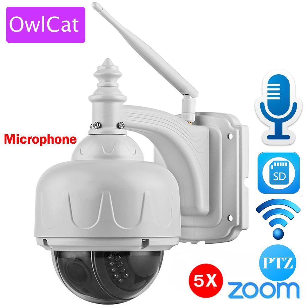 OwlCat Sans Fil IP Caméra Dôme PTZ Extérieure avec Microphone Haut-Parleur à Deux Voies Audio Parler WiFi HD 1080 p 960 p 5X Zoom SD Fente Pour Carte