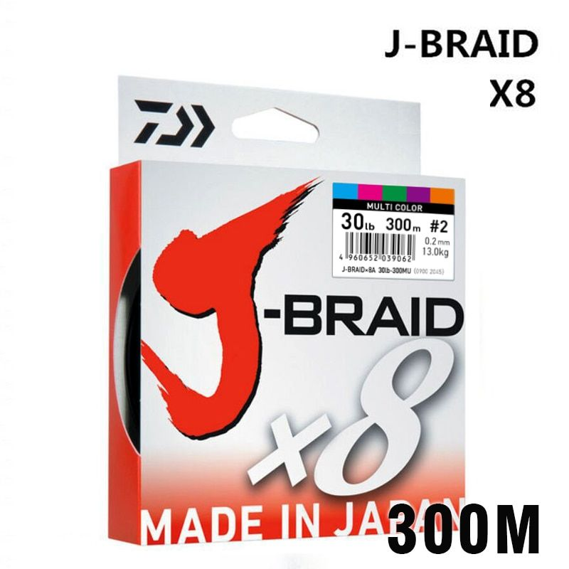 DAIWA 8 Braided Fishing Line - Length:300m/330yds, Diameter:0.2mm-0.42mm,size:30-100lb Japan PE braided line J-Braid Line