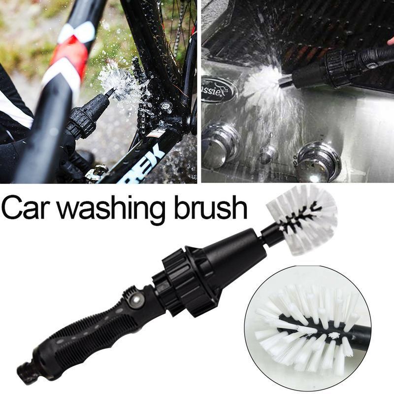 Poignée de voiture brosse de lavage outils propres brosse de nettoyage rotative à eau pour voiture moto roue de vélo pneu jante brosse