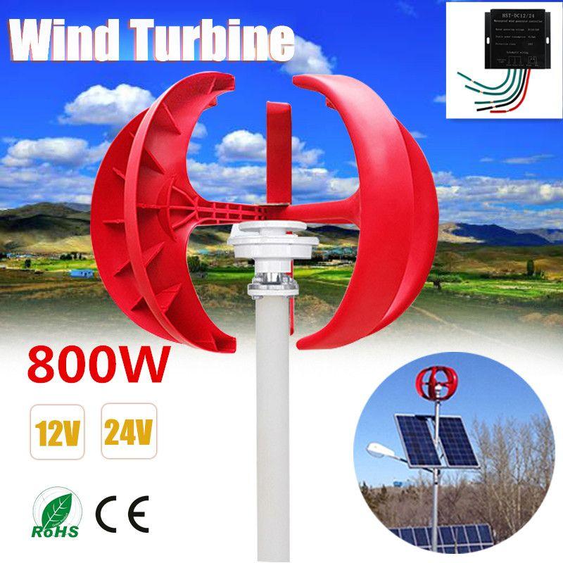 800 W Wind Turbinen Generator + Controller 12 V 24 V 5 Klingen Laterne Vertikale Achse Permanent Magnet Generator für hause