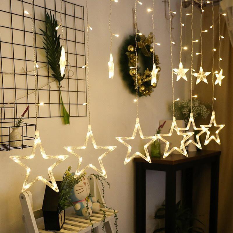 LED guirlandes lumineuses pentagramme étoile rideaux lumières fée mariage anniversaire noël éclairage intérieur décoration lumière 220V IP44
