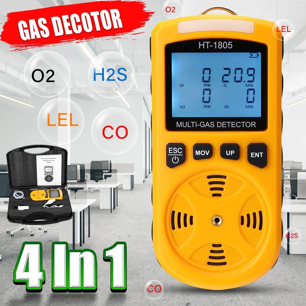 4 In 1 O2 CO H2S UEG Monitor Schädlichen Gas Detektor LCD Digital Analyzer Tester Warnung High Sensitive sauerstoff Carbon kohlenmonoxid-detektor Flügel