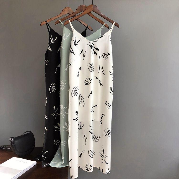 Mooirue Summer 2019 Women Tank Dress Casual Stripe White Green Black Long Camisole Slim Women Beach Cami Dress
