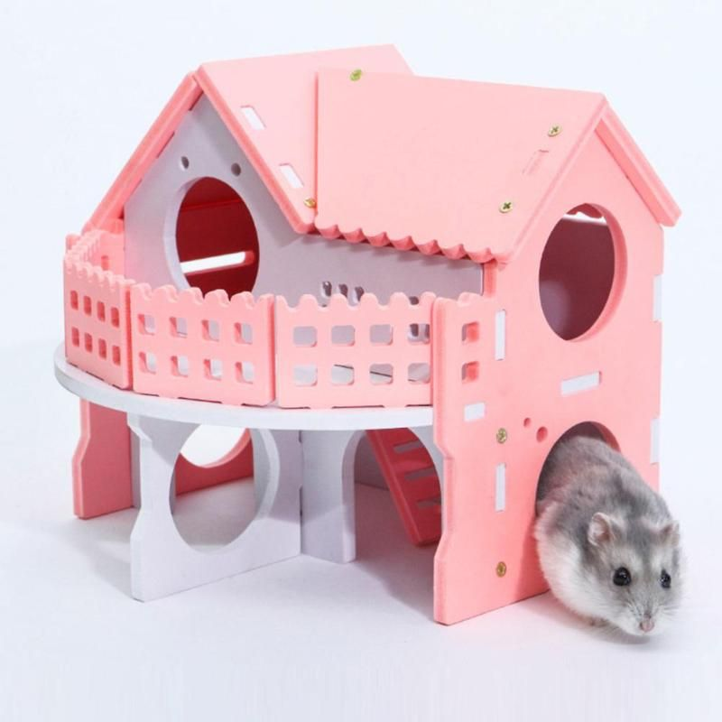 Cute Small Animal Pet Sleeping House Nest Bed Hamster Rabbit Hedgehog Pet Sleeping Log Cabin Cages Animal Pet House Supplies