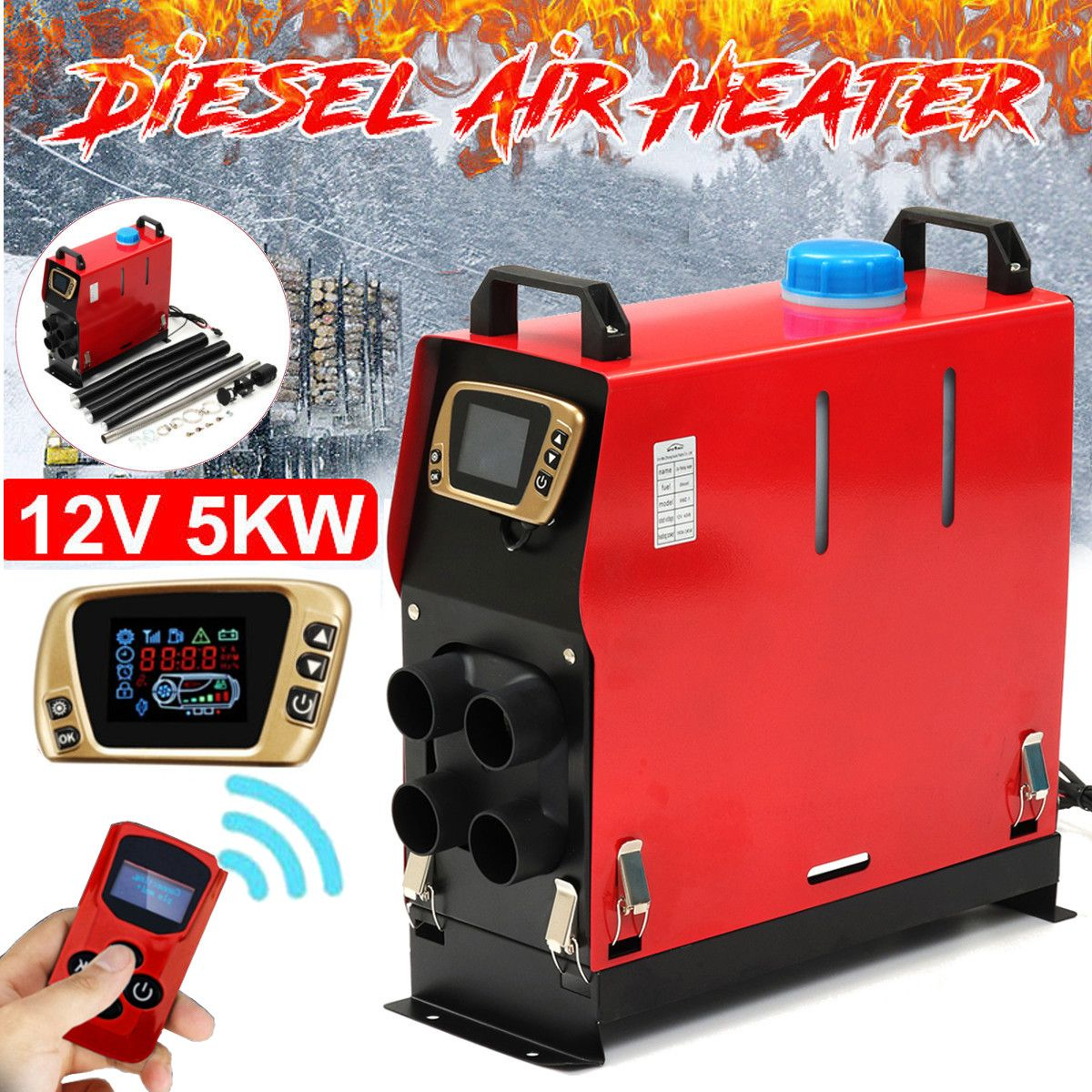 All In One 5000W Air diesels Heater 5KW 12V Car Heater For Trucks Motor-Homes Boats Bus +Newest LCD key Switch + Remote control