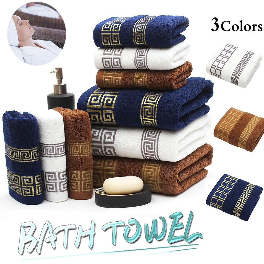 2019 New Luxury 3pcs/lot 100% Cotton Towel Set with 2 Face Washcloth+1 Bath Towels Bathroom Set for Family Guest Bathrooms Gym