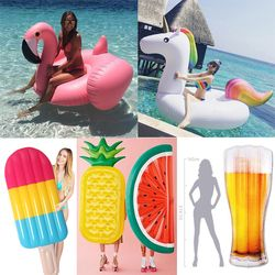 22 Style Giant Swan Watermelon Floats Pineapple Flamingo Swimming Ring Unicorn Inflatable Pool Float Child&Adult Water Toys boia