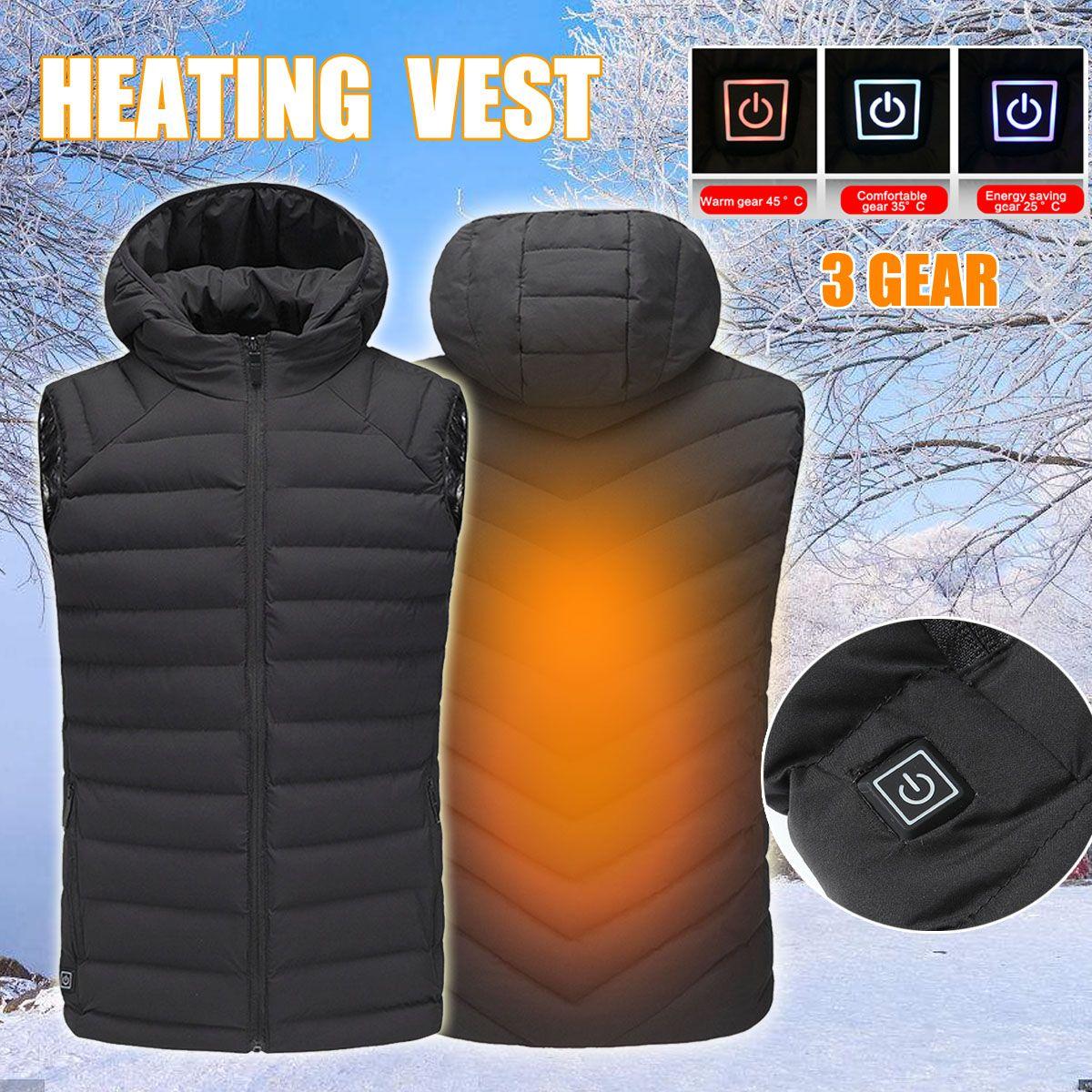 Safurance Herren Winter Sicherheit Weste Beheizte Weste USB Mit Kapuze Arbeit Jacke Sicherheit Arbeit Einstellbare Temperatur Control Kleidung