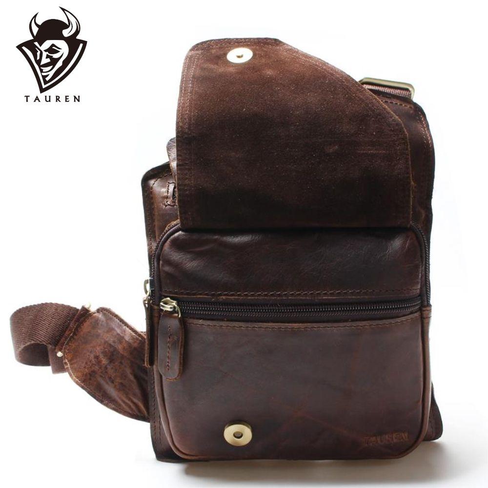 Nouveau haute qualité décontracté Crazy Horse cuir véritable peau de vache hommes sac de poitrine petits sacs Messenger pour homme sacs à bandoulière