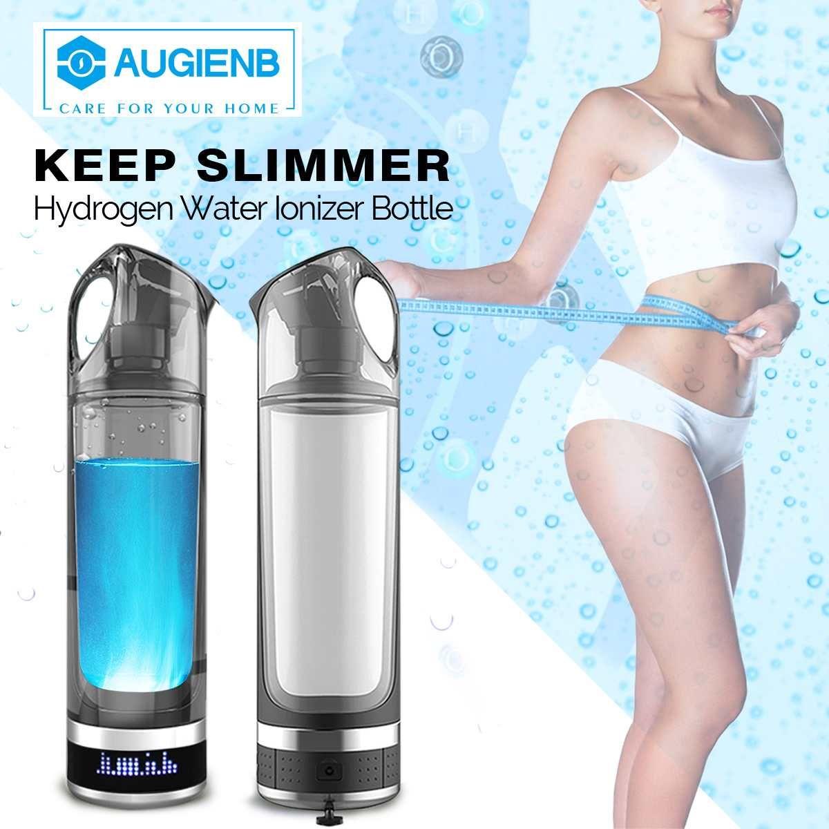 Augienb Gesunde Anti-Aging Wasserstoff Reiche Wasser Flasche Generator 500 ML Led-anzeige Wasserstoff Reiche Wasser Maker Ionisator BPA -freies