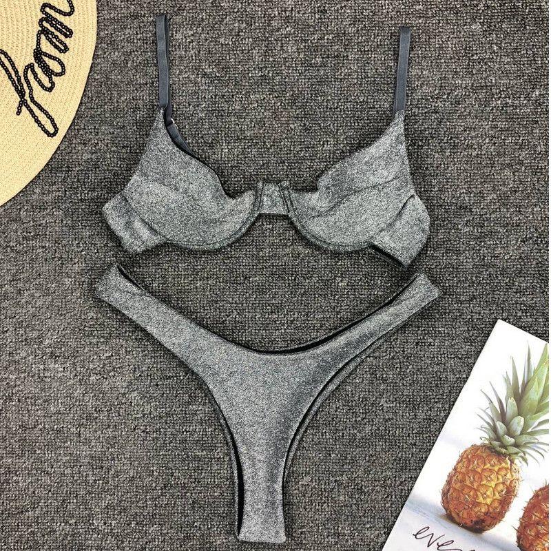 Femmes brillant argent Bikini ensemble 2 pièces push-up non rembourré soutien-gorge Bikini slips maillots de bain bas wasit string Strappy soutien-gorge
