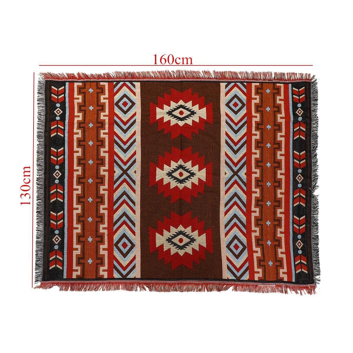 130x160 cm aztèque Navajo jeter couverture tapis tenture murale coton tapis tapis serviette tissé géométrique Textiles literie décoration de la maison