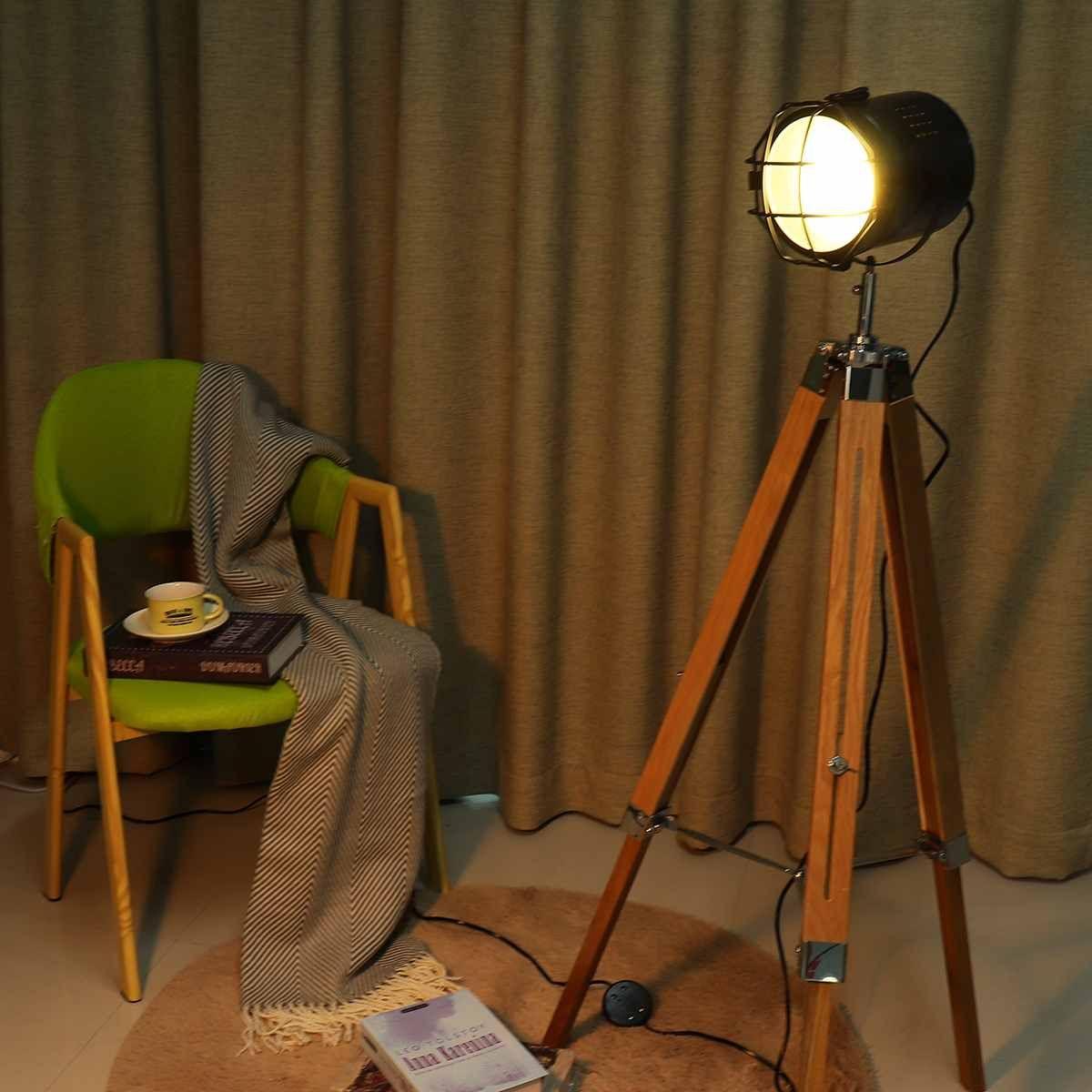 Stativ Boden Lampe Leuchtet wohnzimmer Decor Lesen Beleuchtung Holz Dreieck Moderne Minimalistischen Industriellen Leuchte