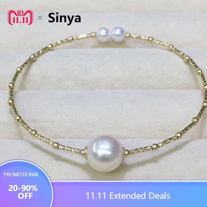 Sinya Natural pearls 18k AU750 gold tube Bangles bracelet for women girl Mom lover length about 17.5cm pearl diameter 9-10cm