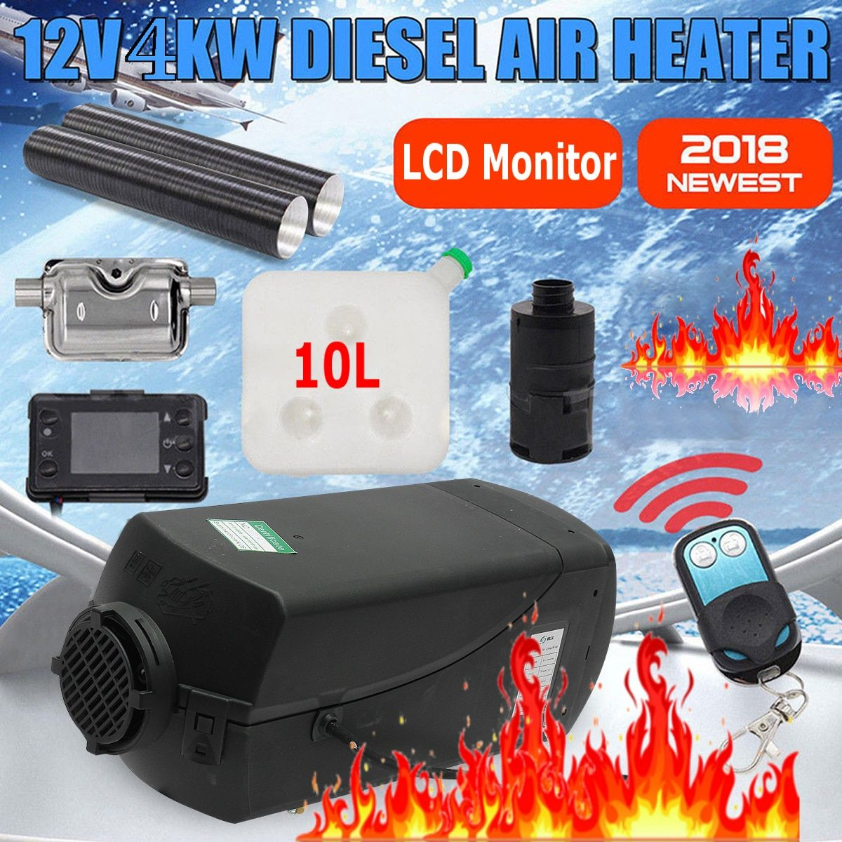 4KW 12V diesels air heater for Truck Boats caravan RV bus- To replace Eberspacher D4, Webastos parking heater +Remote + Silencer
