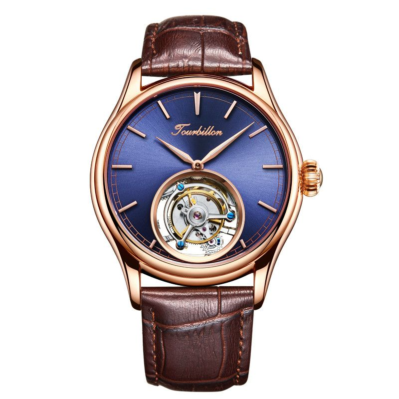 Angepasst High End Business Tourbillon Mechanische Männer Handgelenk Uhren Blaues Zifferblatt Mechanische Hand Wind Leder Herren Armbanduhr